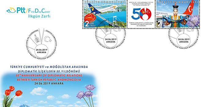 Turkey's Postal Service (PTT) released a new stamp for the 50th anniversary of diplomatic relations between Mongolia and Turkey